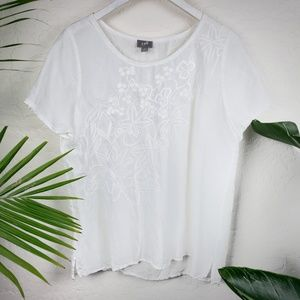 J.Jill | White Rayon Floral Embroidered Blouse